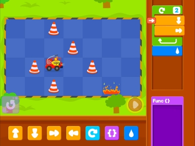 Little Fire Truck Functions Coding Games For kids